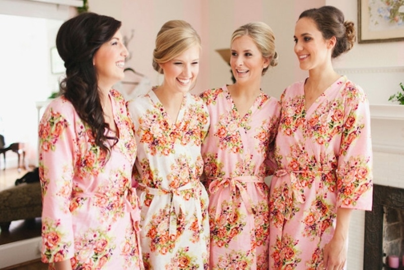 matching pink floral robes are what you need to wear altogether at a spa bridal shower