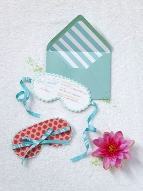 spa bridal shower invitations shaped as sleep masks are very cute and very fun