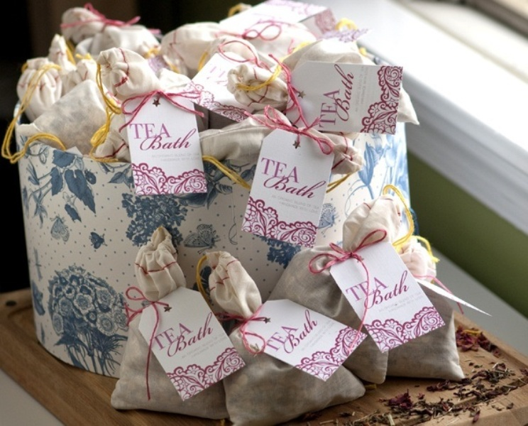 tea bath salts are very calming and relaxing, blend them yourself and give them to your gals at the shower