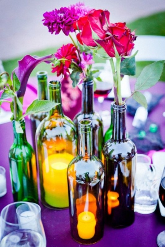 Picture Of creative ways to decorate your wedding with wine bottles  5