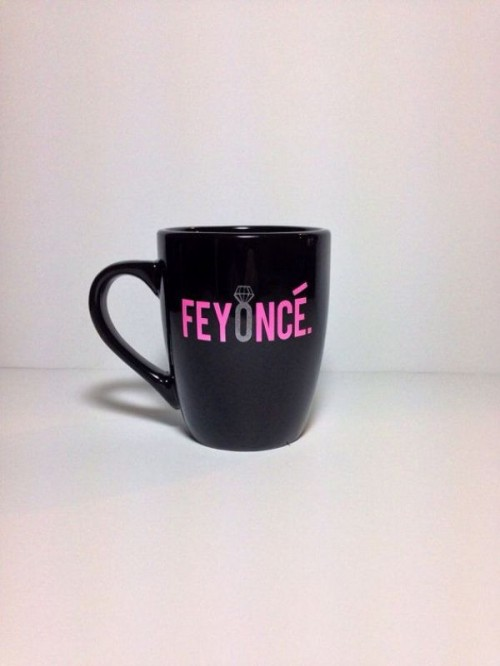 a black and pink fun Feyonce mug for drinking coffee and getting prepared for the wedding