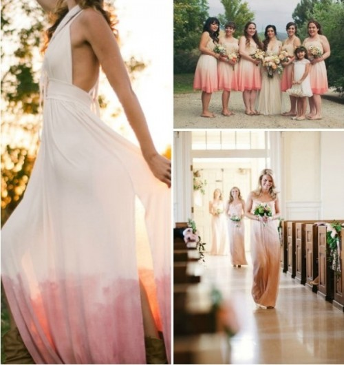 beautiful dip dye tan and pink bridesmaid and wedding dresses will be a breath of fresh air for your spring or summer wedding