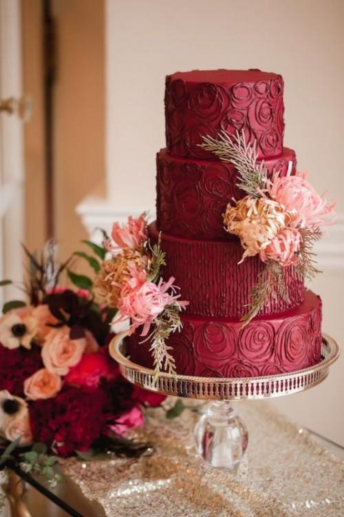 15 Stunning Marsala Wedding Cake Ideas