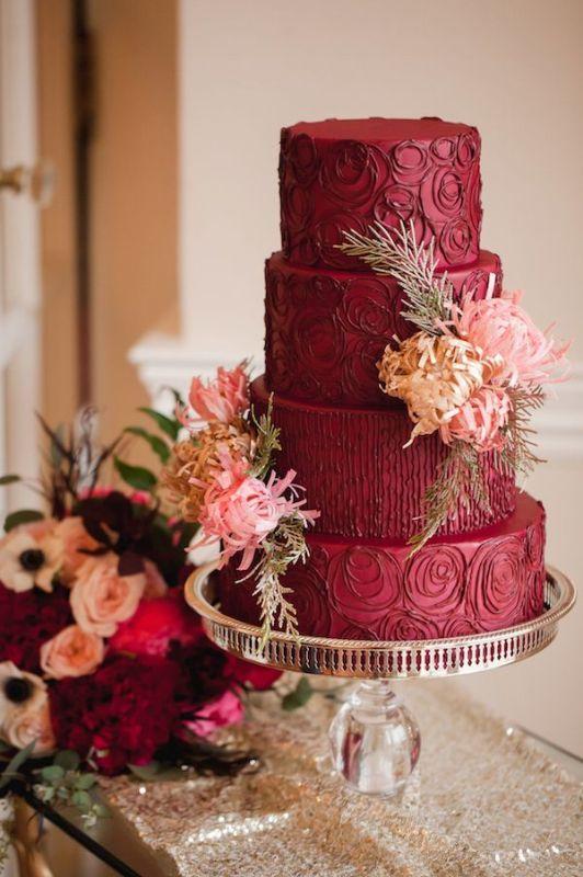 Picture Of stunning marsala wedding cake ideas  1