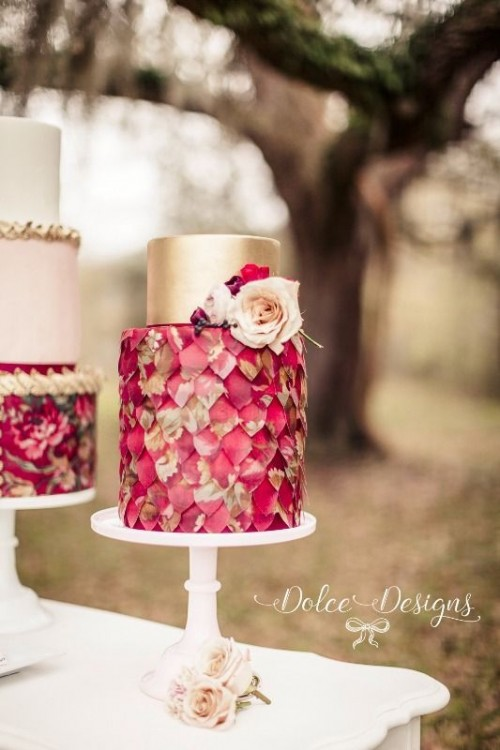 Stunning Marsala Wedding Cake Idea