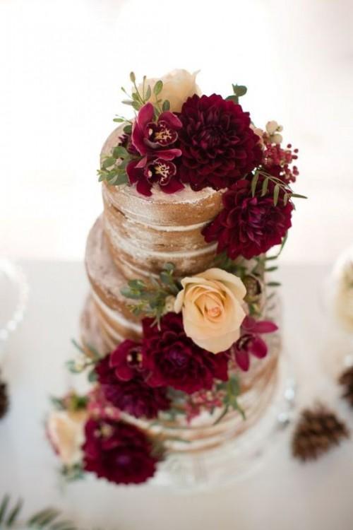 Stunning Marsala Wedding Cake Ideas