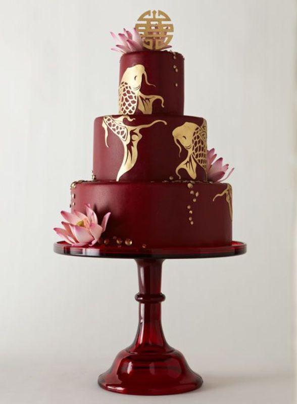 Picture Of stunning marsala wedding cake ideas  9