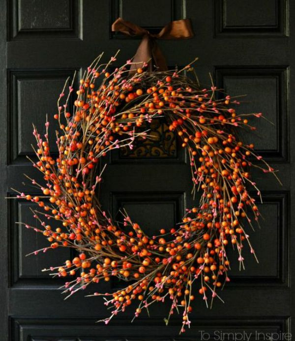 Picture Of colorful fall wreaths for your wedding decor  2