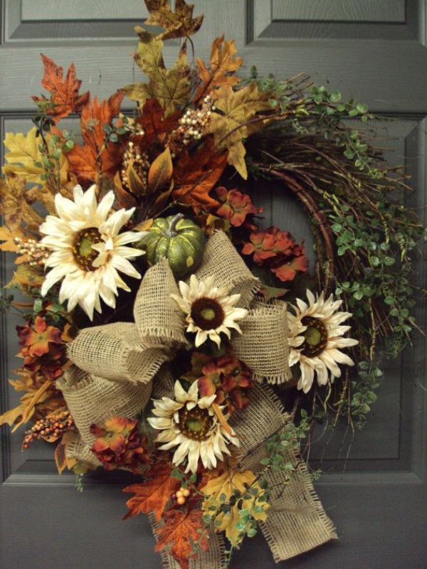 Picture Of colorful fall wreaths for your wedding decor  4