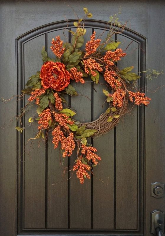 Picture Of colorful fall wreaths for your wedding decor  5