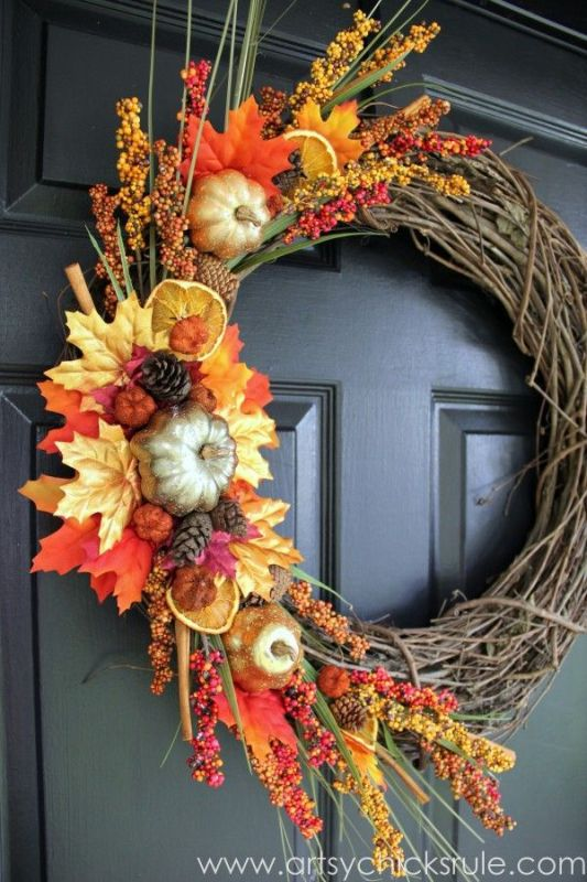 Picture Of colorful fall wreaths for your wedding decor  6