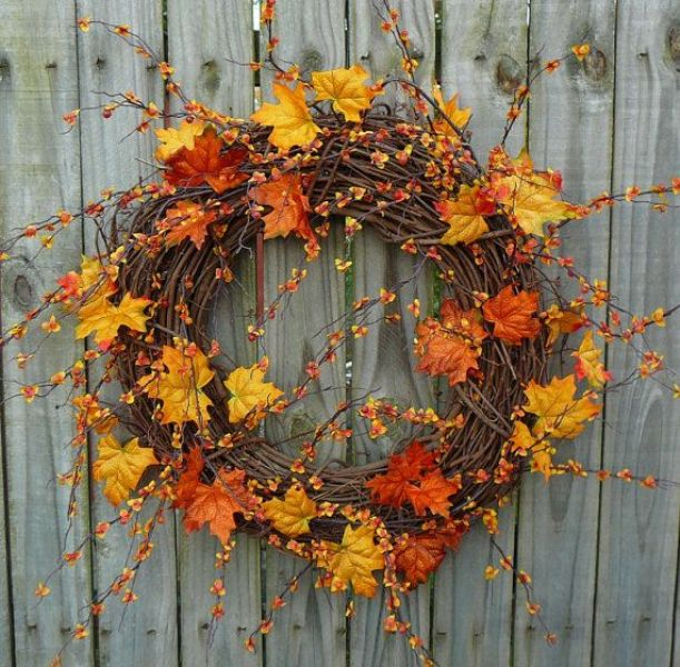 Picture Of colorful fall wreaths for your wedding decor  7