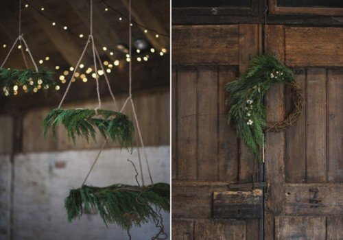 fir chandeliers and a vine wreath with fern are ideal to decorate your boho winter wedding