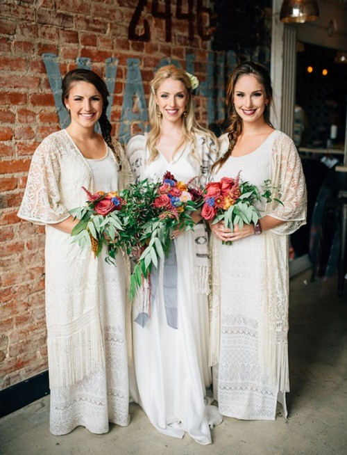 white crochet boho bridesmaid dresses plus lace coverups and bright blooms are perfect for a boho winter wedding