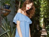 a blue off the shoulder mini dress and a red lip for a summer bridal shower