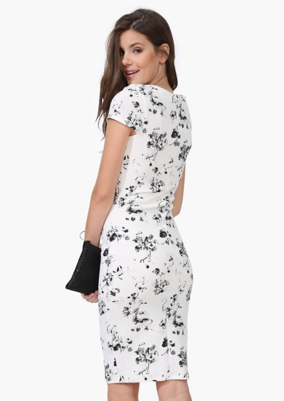 a black and white bodycon knee dress with a black clutch is a simple and elegant monochromatic outfit