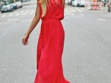 a hot red sleeveless maxi dress with a front slit is a gorgeous way to stand out