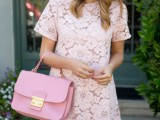 a blush floral lace mini dress and a bright pink bag for a cute summer bridal shower