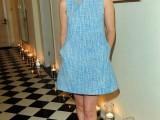 a blue printed sleeveless mini dress, yellow platform shoes for a contrast