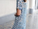 a blue sequin over the knee dress with short sleeves for your something blue even at the bridal shower