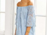 a powder blue off the shoulder mini dress with long sleeves is a pretty and romantic option