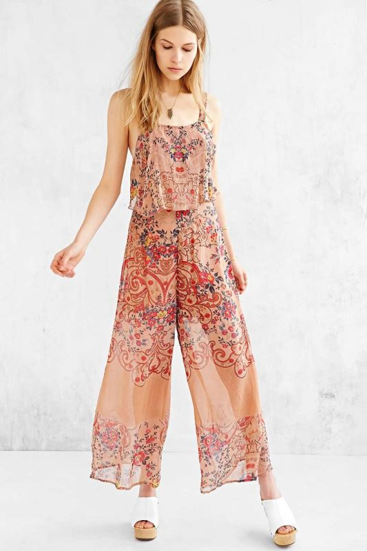 a boho print jumpsuit with spaghetti straps and white platform shoes for a summer bridal shower
