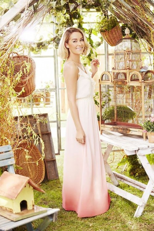 a cute spaghetti strap maxi dress with an ombre effect from white to blush and coral pink and a ruffle neckline
