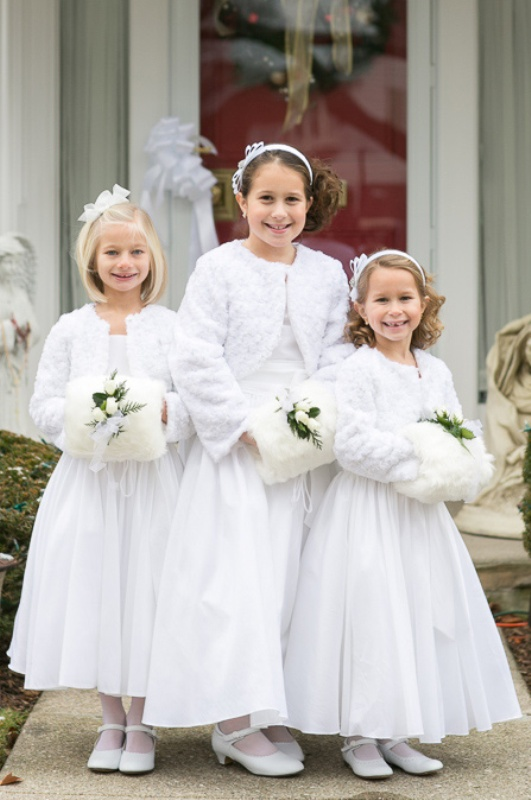 white midi and maxi dresses, white faux fur coverups, white shoes for winter inspired flower girl looks