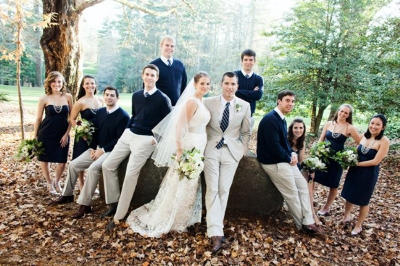 Picture Of smart casual looks with sweaters for a groom and his men  10