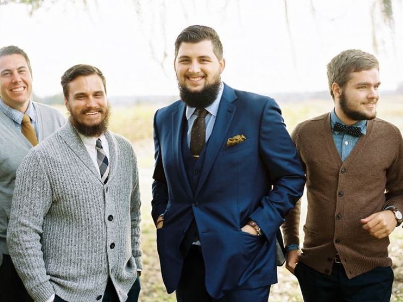 Picture Of smart casual looks with sweaters for a groom and his men  12