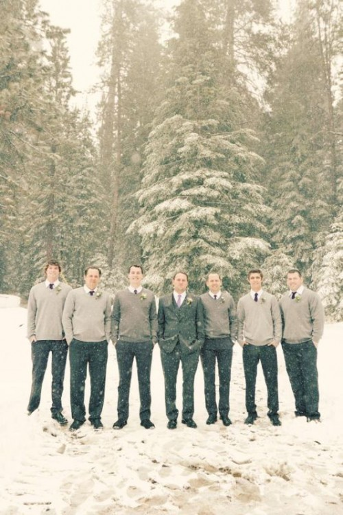 grey pants, white shirts, dove grey jumpers and burgundy ties for a cozy feel at a winter wedding