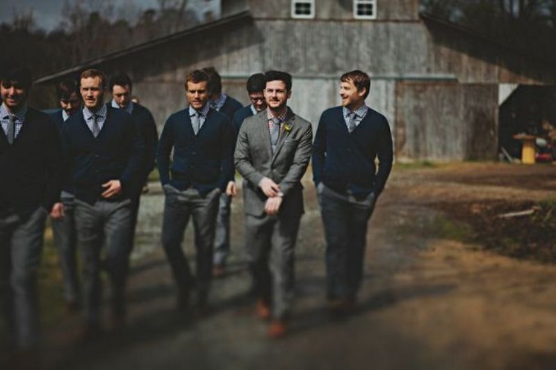 Picture Of smart casual looks with sweaters for a groom and his men  16