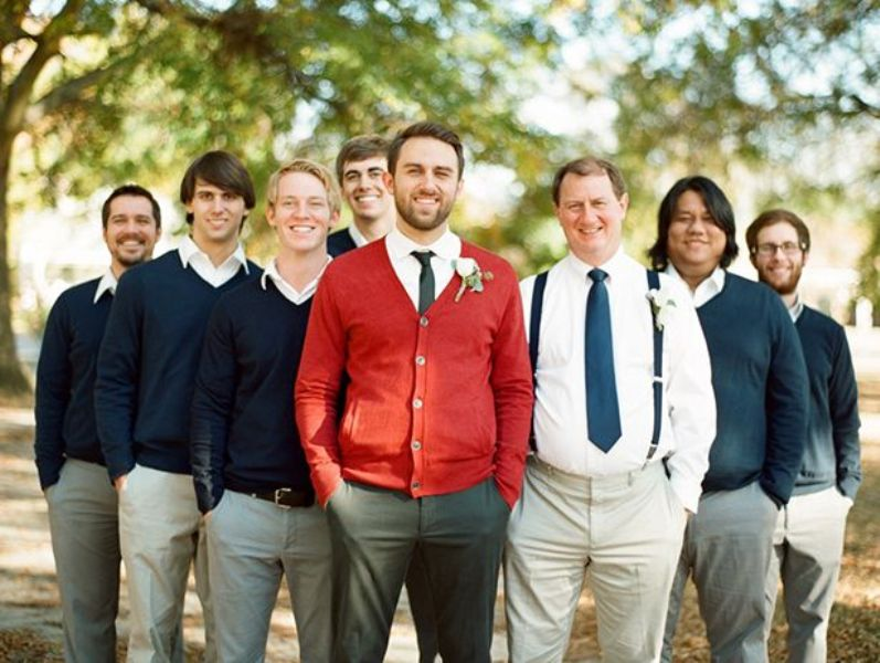 Picture Of smart casual looks with sweaters for a groom and his men  17