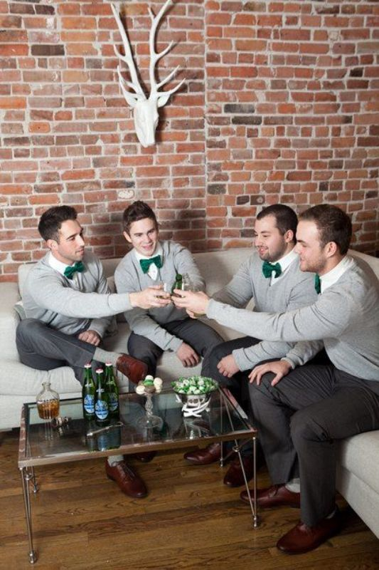 Picture Of smart casual looks with sweaters for a groom and his men  3