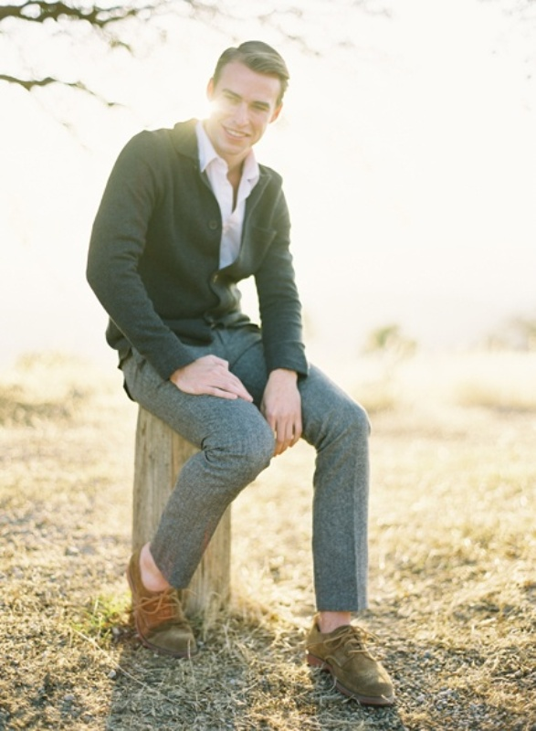 Picture Of smart casual looks with sweaters for a groom and his men  8