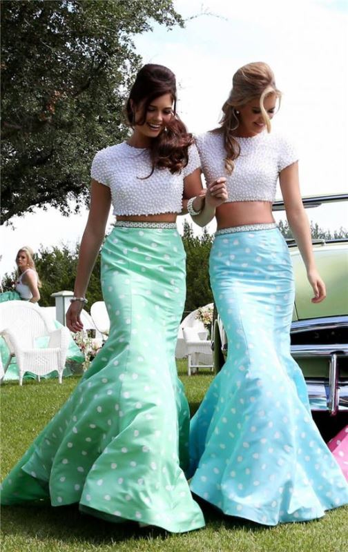 mermaid style separates with embellished white crop tops and blue and green polka dot tail like maxi skirts