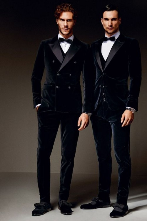 navy velvet tuxedos with black lapels, waistcoats, bow ties and shoes with bows on them