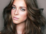 a light-toned makeup with accented skin, accented eyes and a pale pink lip for a very fresh look