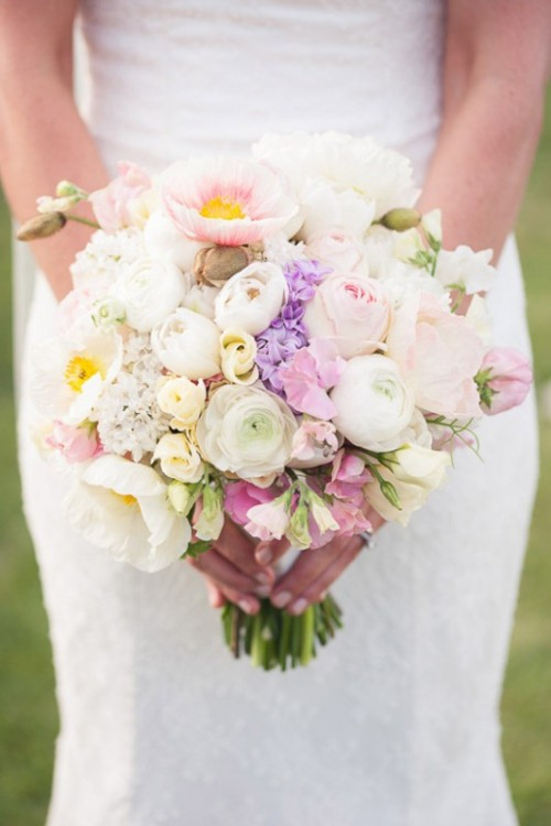 Tender Mixed Pastels Wedding Bouquets