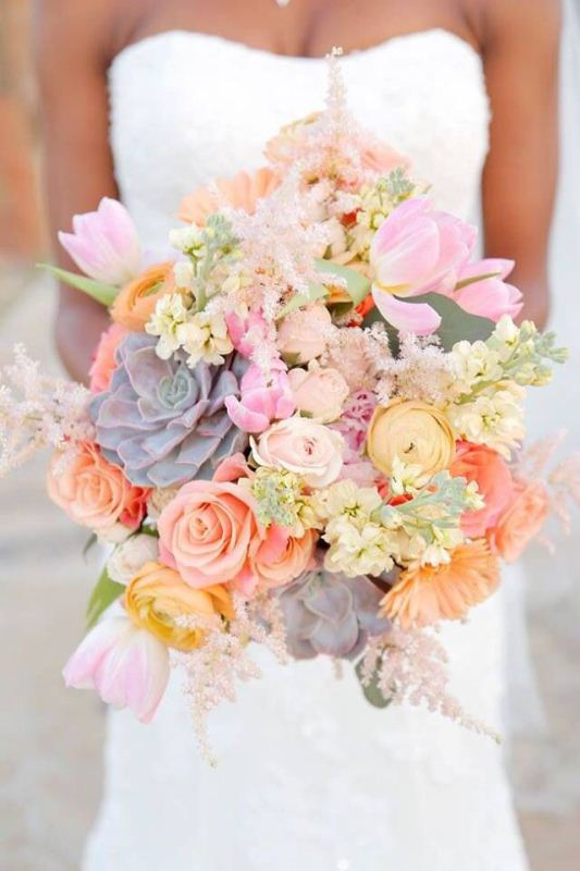 Picture Of mixed pastels wedding bouquets  4