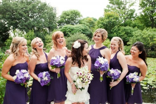 Luxurious Shades Of Purple Bridesmaids' Dresses