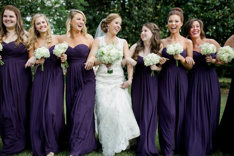 Picture Of Luxurious Shades Of Purple Bridesmaids Dresses 3