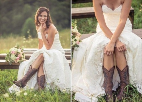 cutout brown embroidered boots paired with a strapless princess-style wedding dress look beautiful and very relaxed