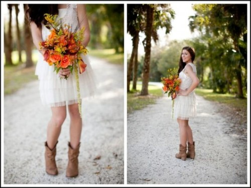 if you are wearing a short wedding dress, it can show off brown cowboy boots you are wearing and make it more rustic and relaxed