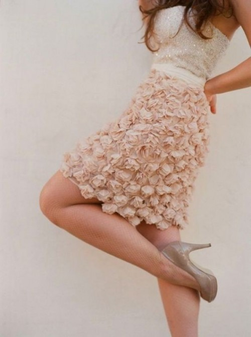 a creative look with a white sequin strapless top and a blush floral applique mini skirt plus nude shoes