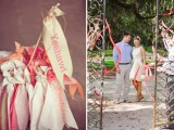 ribbons with letters on sticks are a fun and cool idea for a wedding, and they can be reused anytime for any party