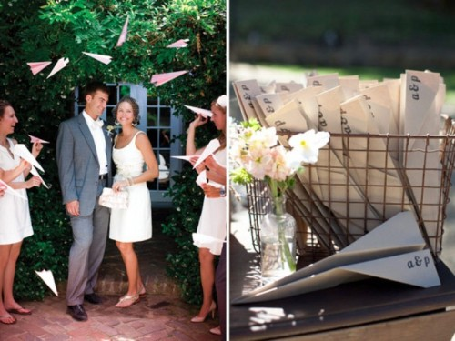monogrammed paper airplanes are great for a traveler's wedding or for a wedding of a pilot