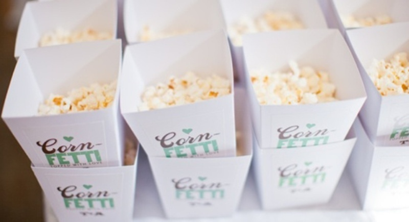 popcorn confetti is super fun, they are amazing for film lover weddings and just for those who love popcorn