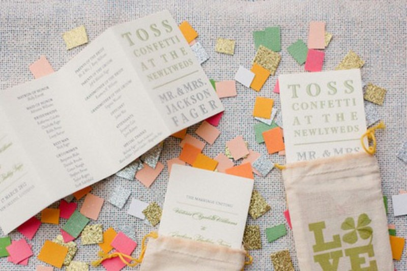 colorful and glitter square confetti of larger sizes is a very cool and bright idea for a modern wedding