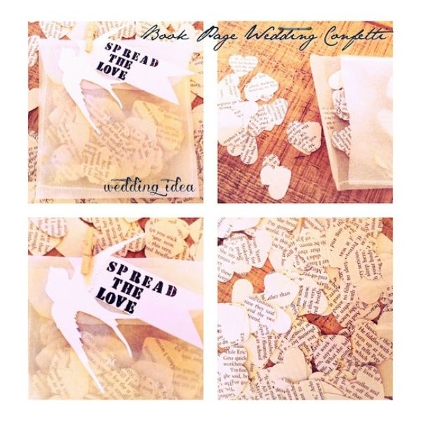 heart confetti made of newspapers or book pages is a very cool and bold idea you can rock for a book lover wedding